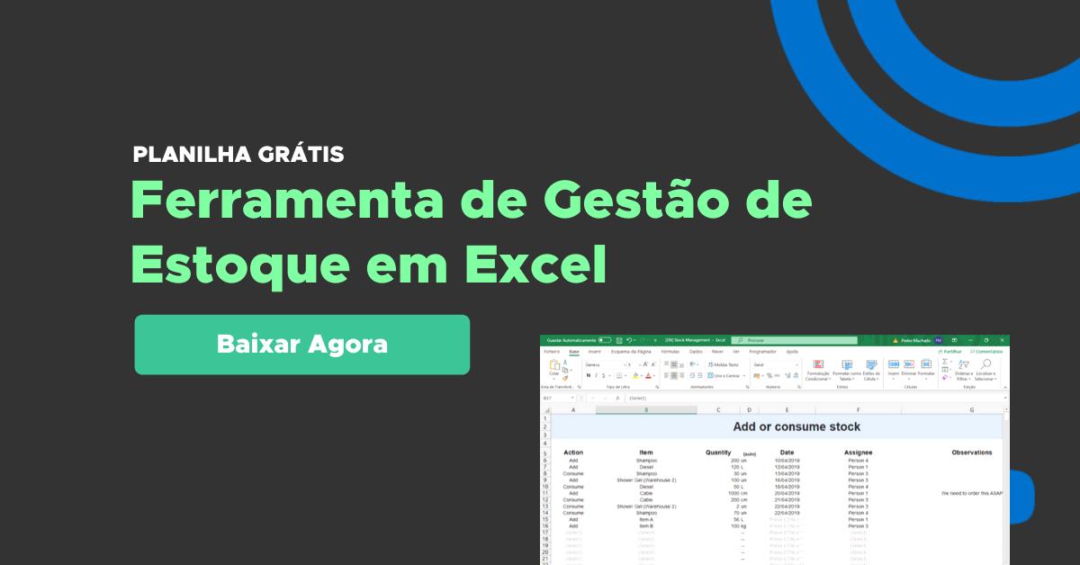 Gestão de Estoque, Planilha em Excel