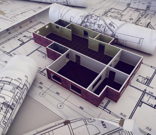 Projeto em 3D de uma construção em desenvolvimento