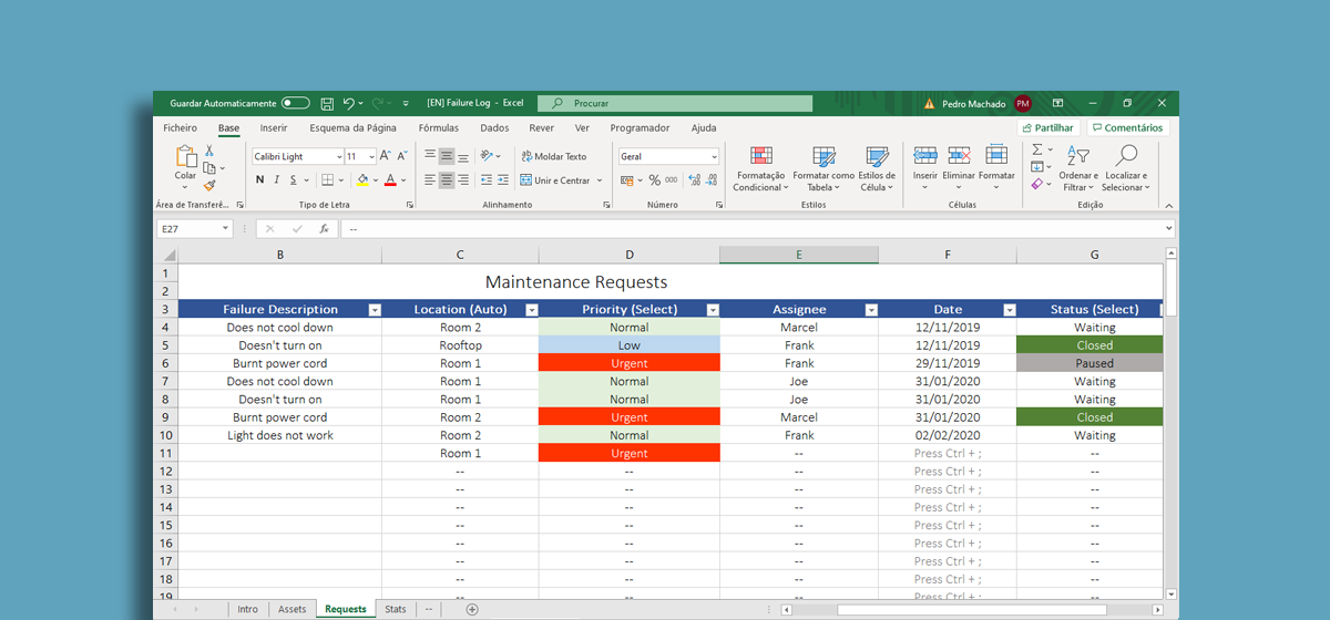 Managing Maintenance Requests in Excel