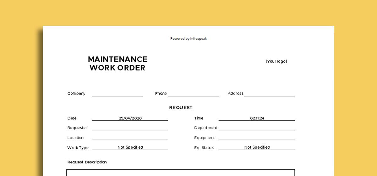 Work Order Template by Infraspeak