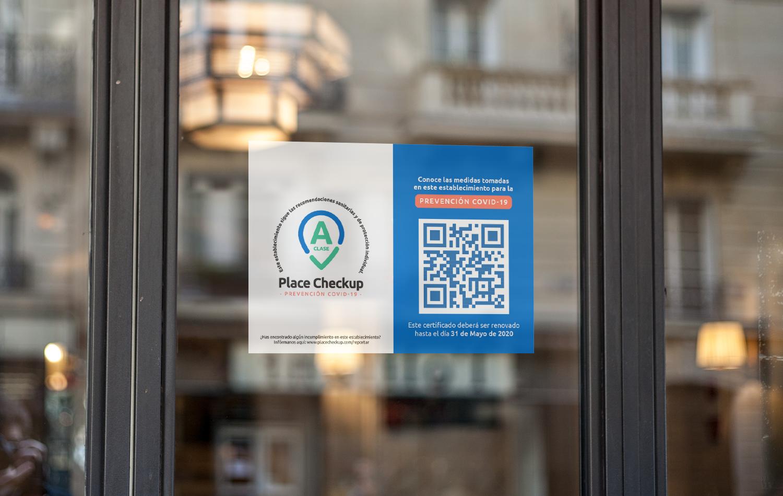 Certificación dePrevención COVID-19 de Place Checkup en un restaurante